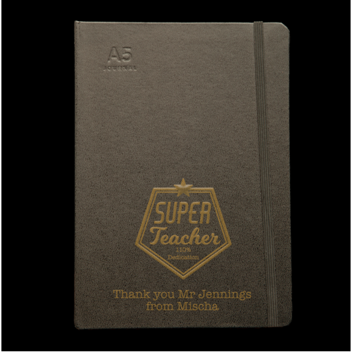 Personalised Black Journal - Super Teacher
