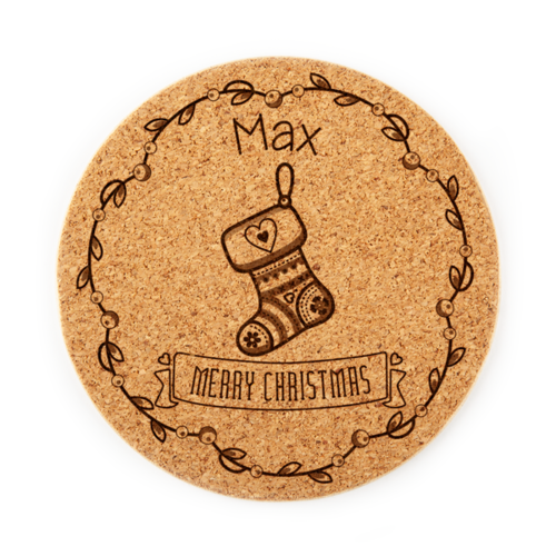 Personalized Scandinavian Stocking Coaster