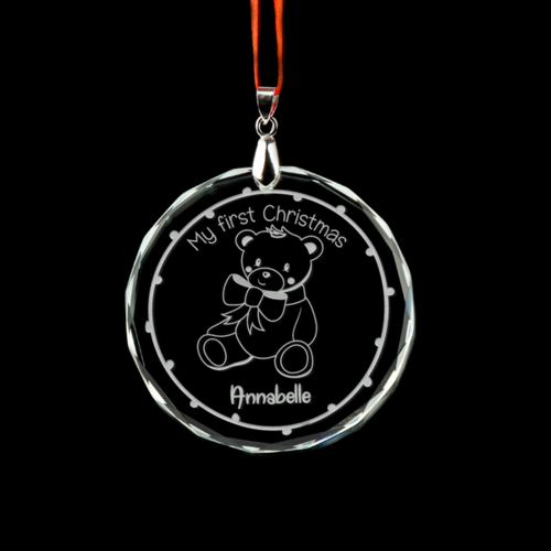 Baby's 1st Christmas Personalised Crystal Ornament - Teddy Bear