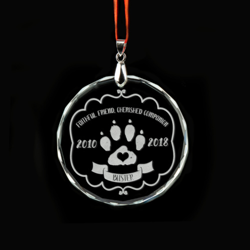 Faithful Friend Personalised Crystal Ornament - Dogs