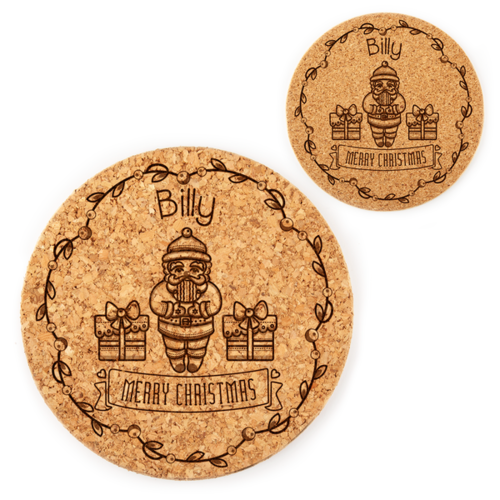 Personalized Scandinavian Santa Mini-Placemat & Coaster Set