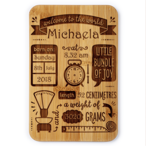 Welcome To The World- Birth Details Plaque