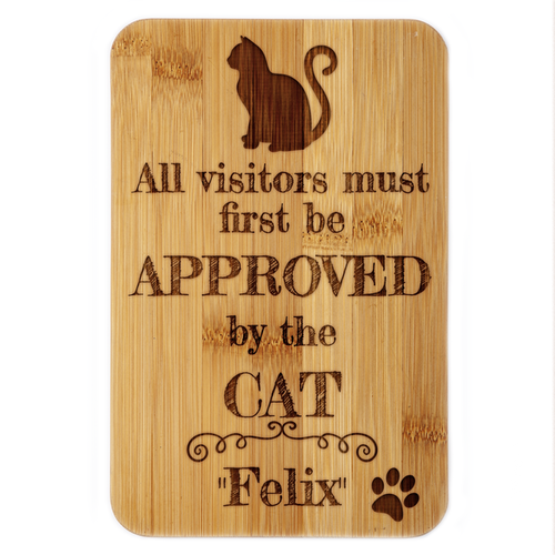 Visitors Approved by the Cat Bamboo Plaque
