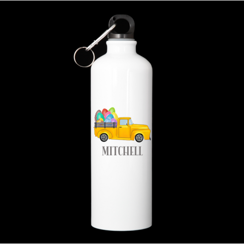 Personalised Water Bottle - Yellow Pickup Easter Truck